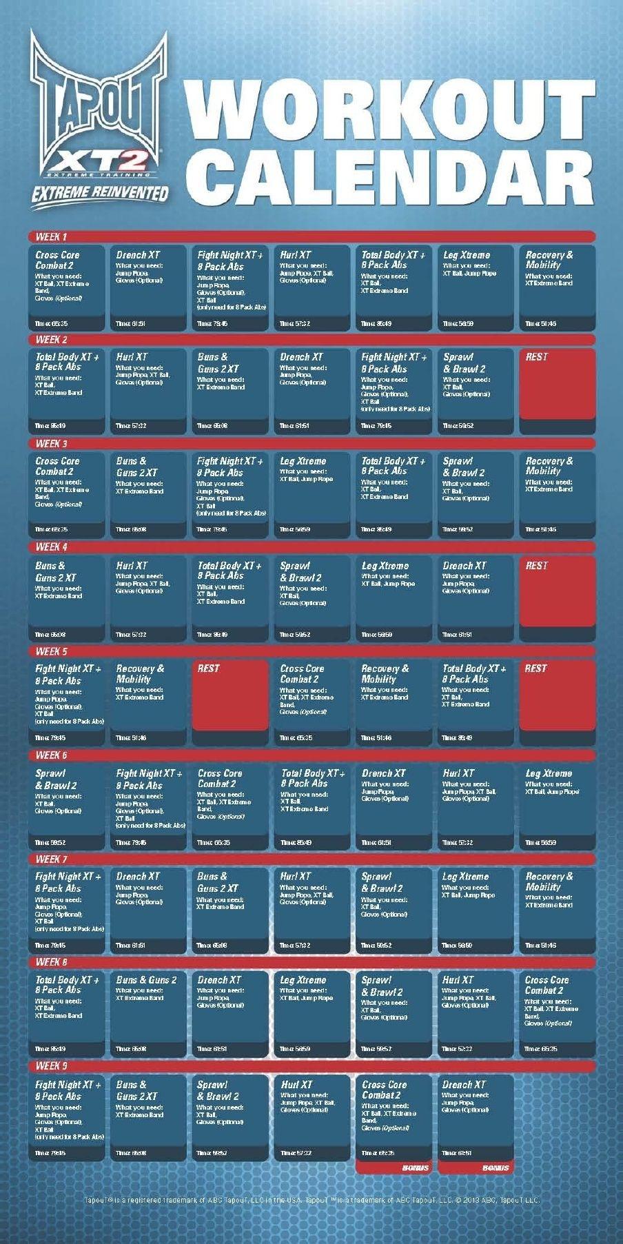 Tapout Xt Calendar Get Free Calendar
