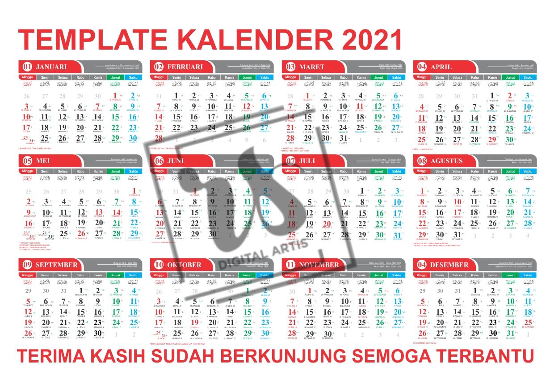 Template Kalender 2021 Lengkap Jawa Hijriyah Masehi