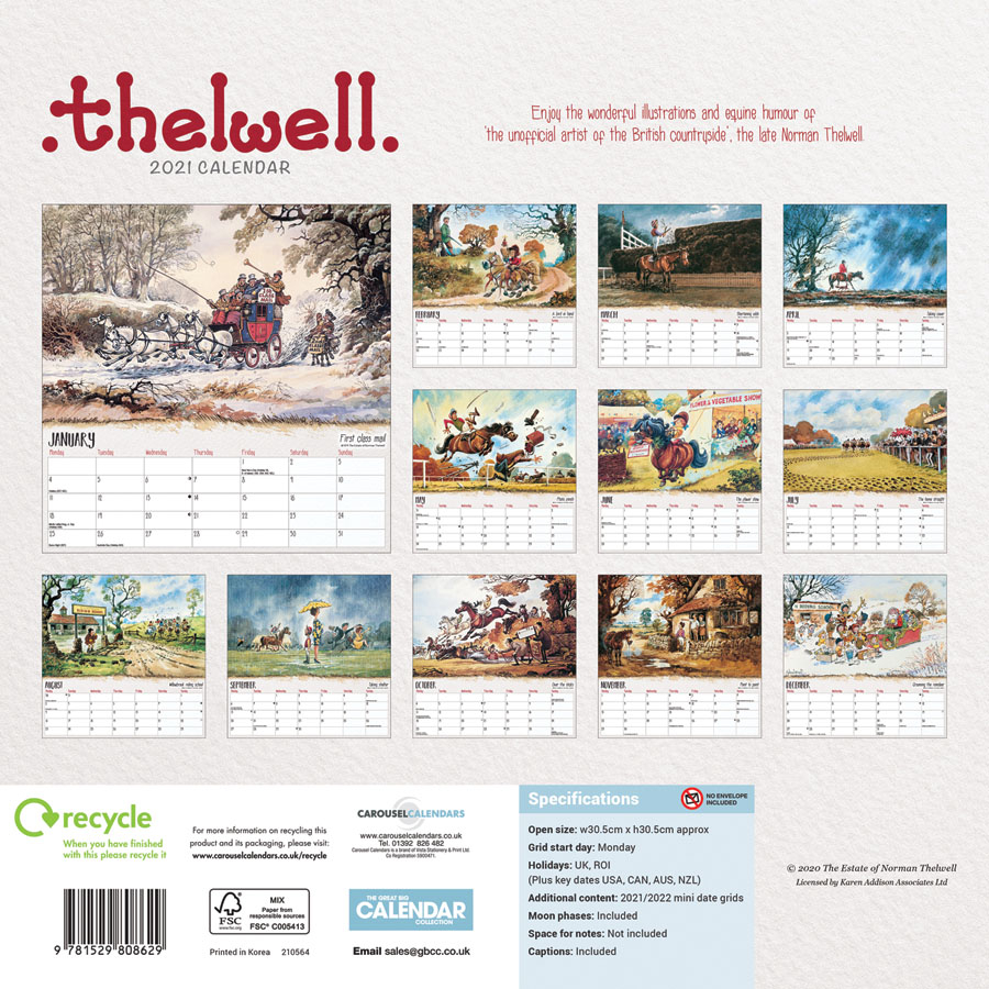 Thelwell Calendar 2021 Square Wall Carousel Calendars