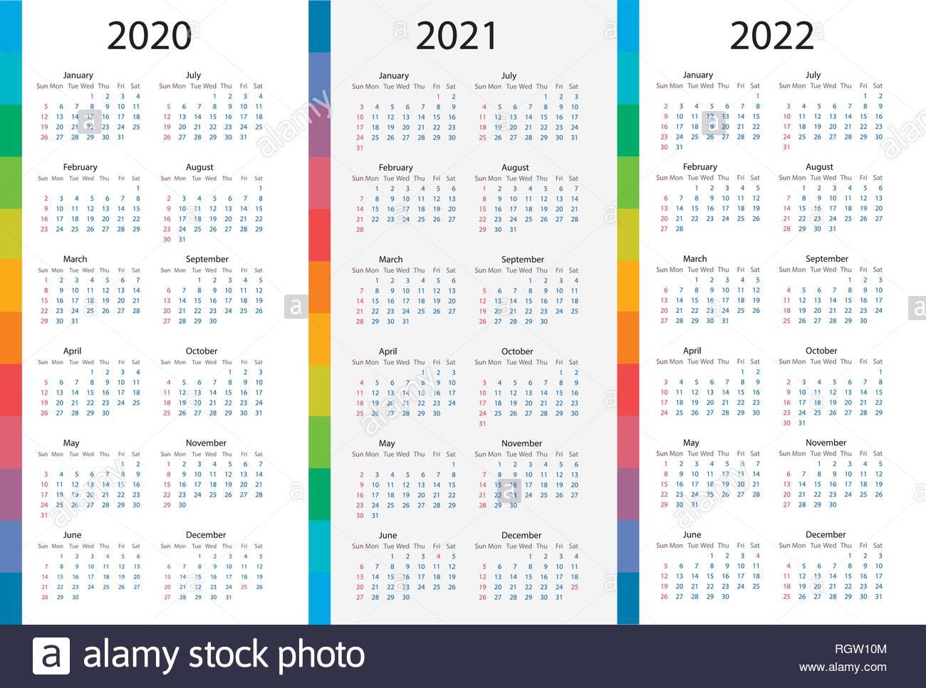 Three Year Calendar 2020 2021 2022 Calendar Printable Free