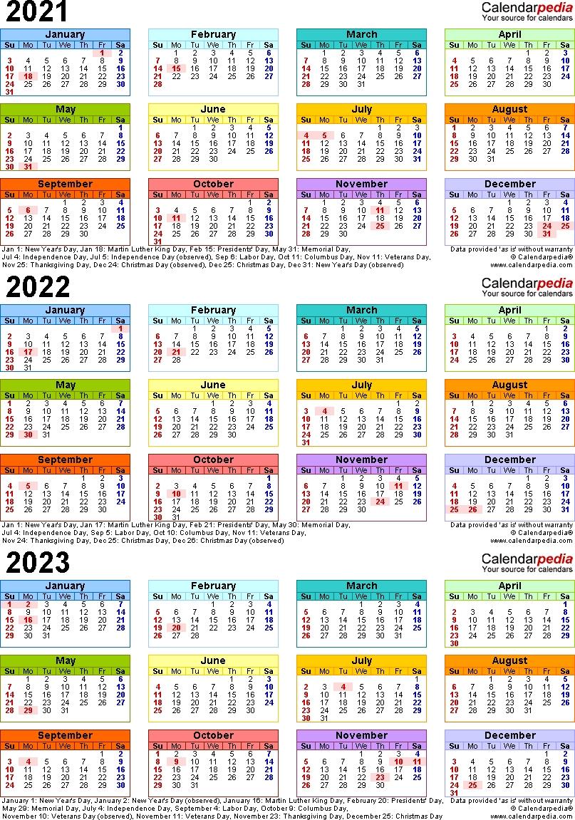Three Year Calendar 2020 2021 2022 Calendar Template