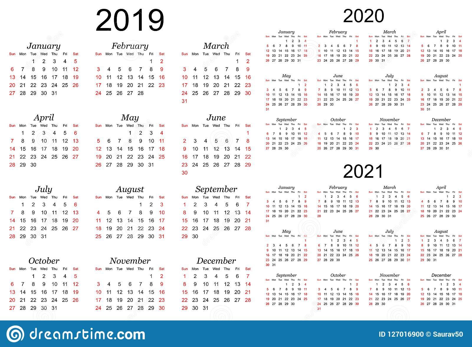 Three Year Calendar 2020 2023 Calendar Template