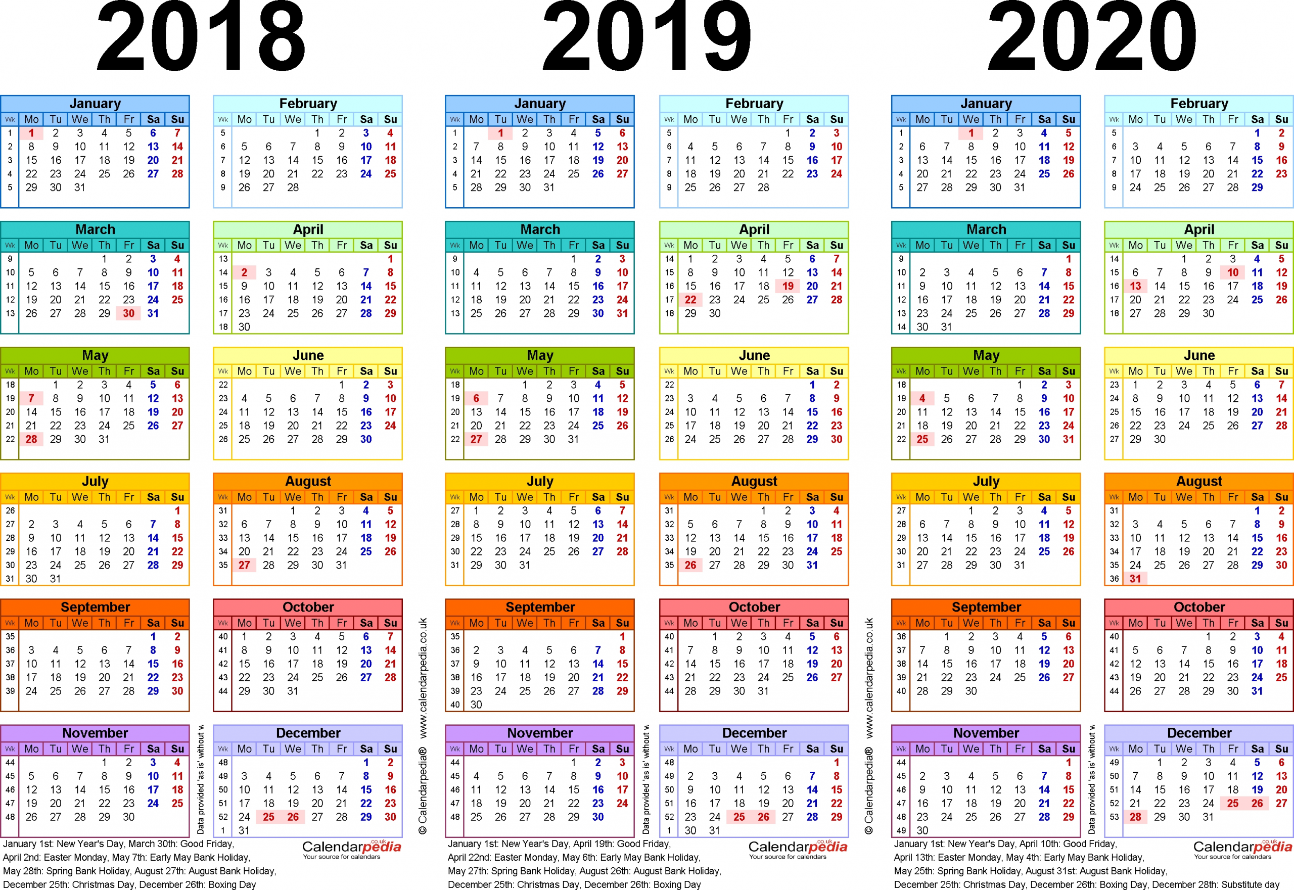 Three Year Calendars For 2018 2019 2020 Uk For Pdf Qualads