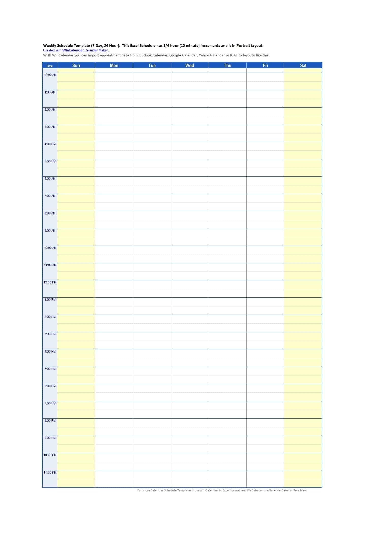 Time Slot Template Schedule Excel Calendar Inspiration