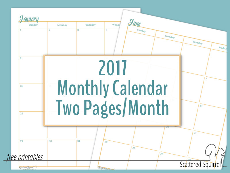 Two Page Monthly Calendar Printable Calendar Template 2020