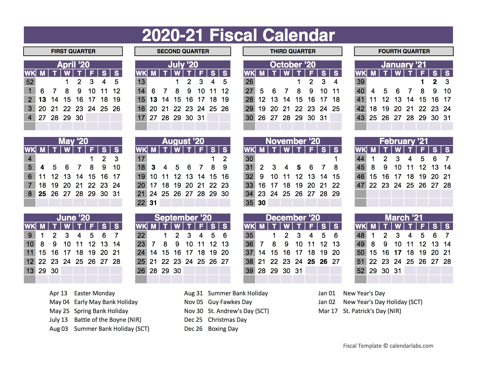 Uk Fiscal Calendar Template 2020 21 Free Printable Templates