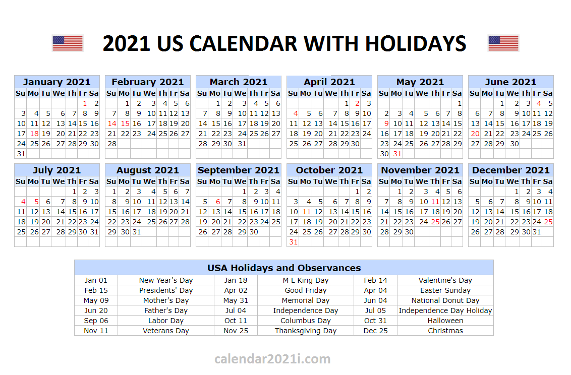 Us 2021 Calendar With Holidays United States Printable 1