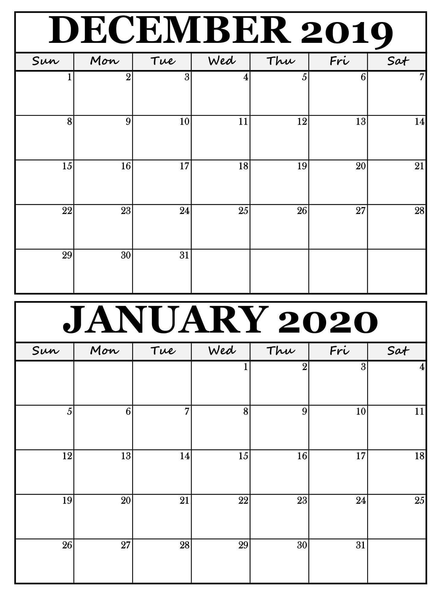Vacation Schedule Template December 2020 Calendar 2020 1