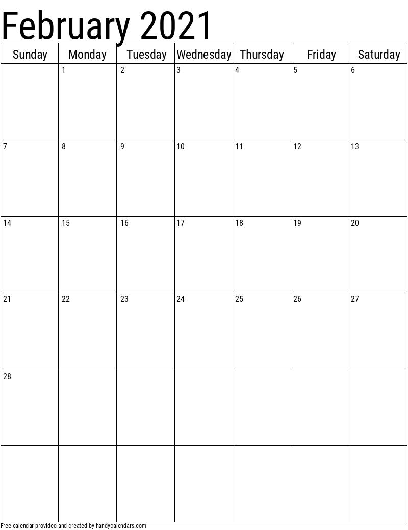 Vertical 2020 Calendar Templates Handy Calendars