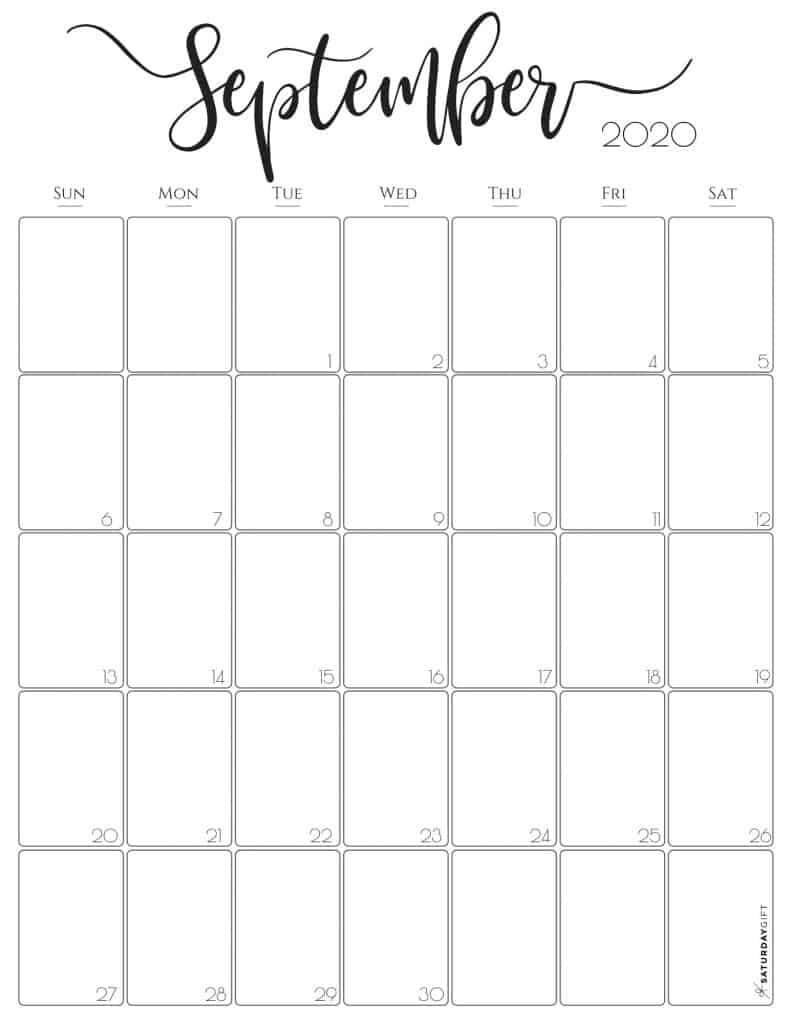 Vertical 2020 Monthly Calendar Stylish Free