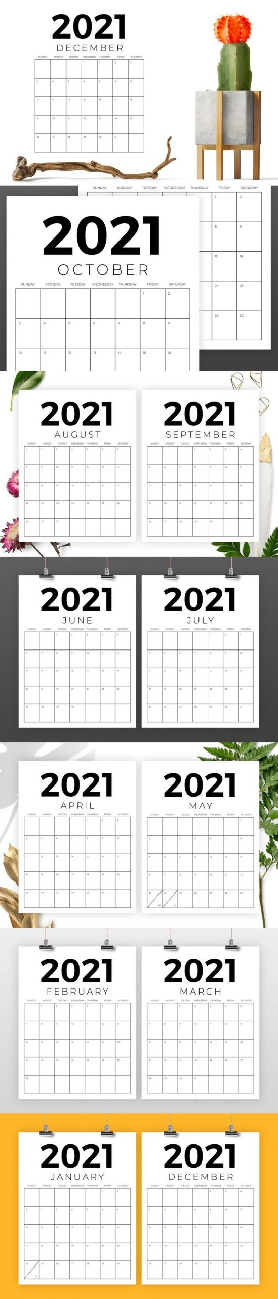 Vertical 8 5 X 11 Inch 2021 Calendar In 2020 2021