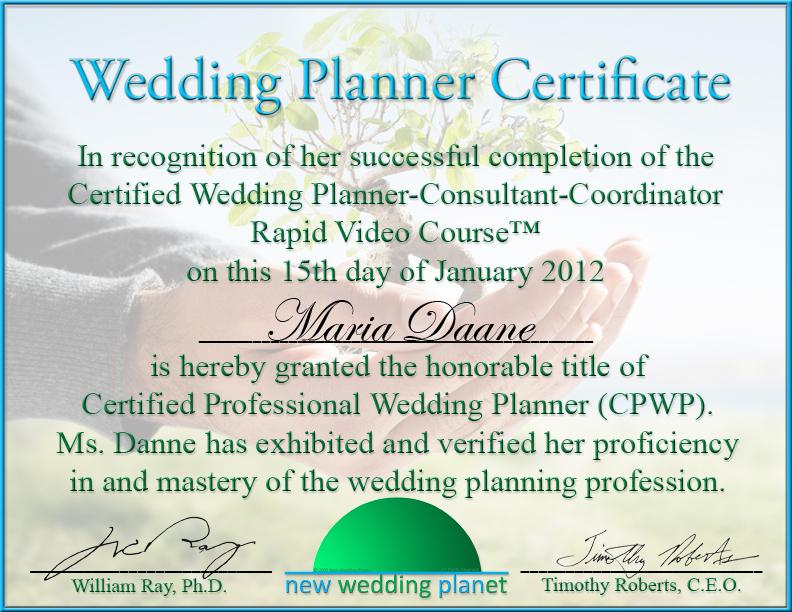 Wedding Planner Certificate Printable Birthday Certificates