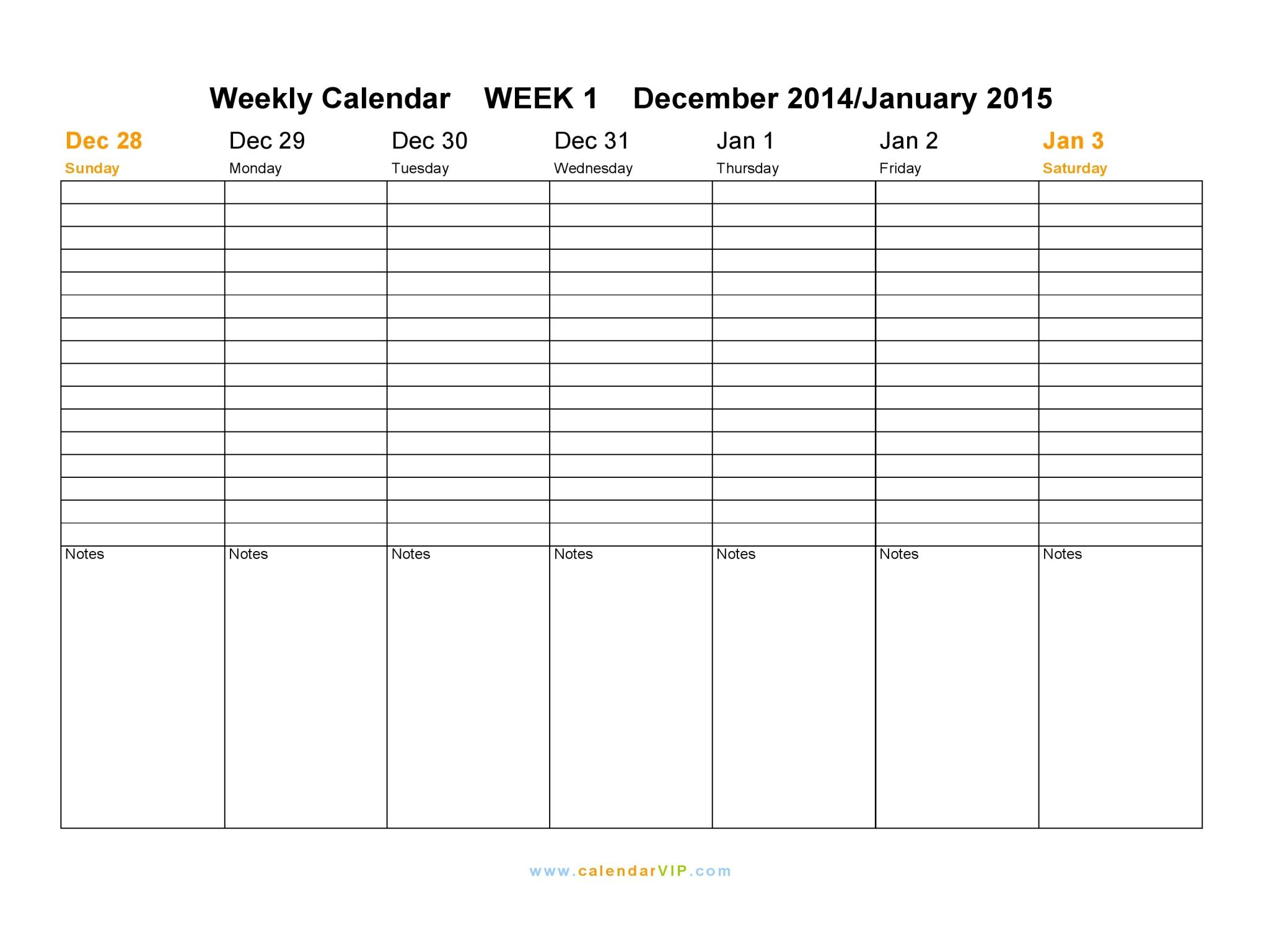 Weekly Calendar 2015 Free Weekly Calendar Templates 1