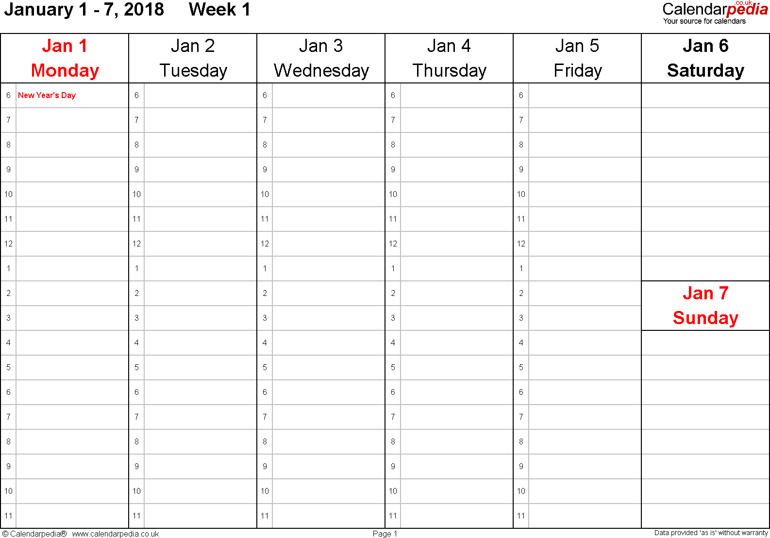 Weekly Calendar 2018 Uk Free Printable Templates For Pdf 3