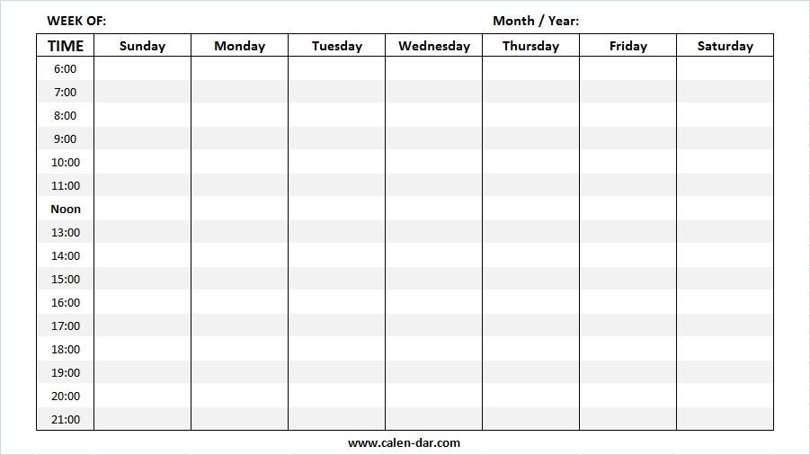 Weekly Calendar 2019