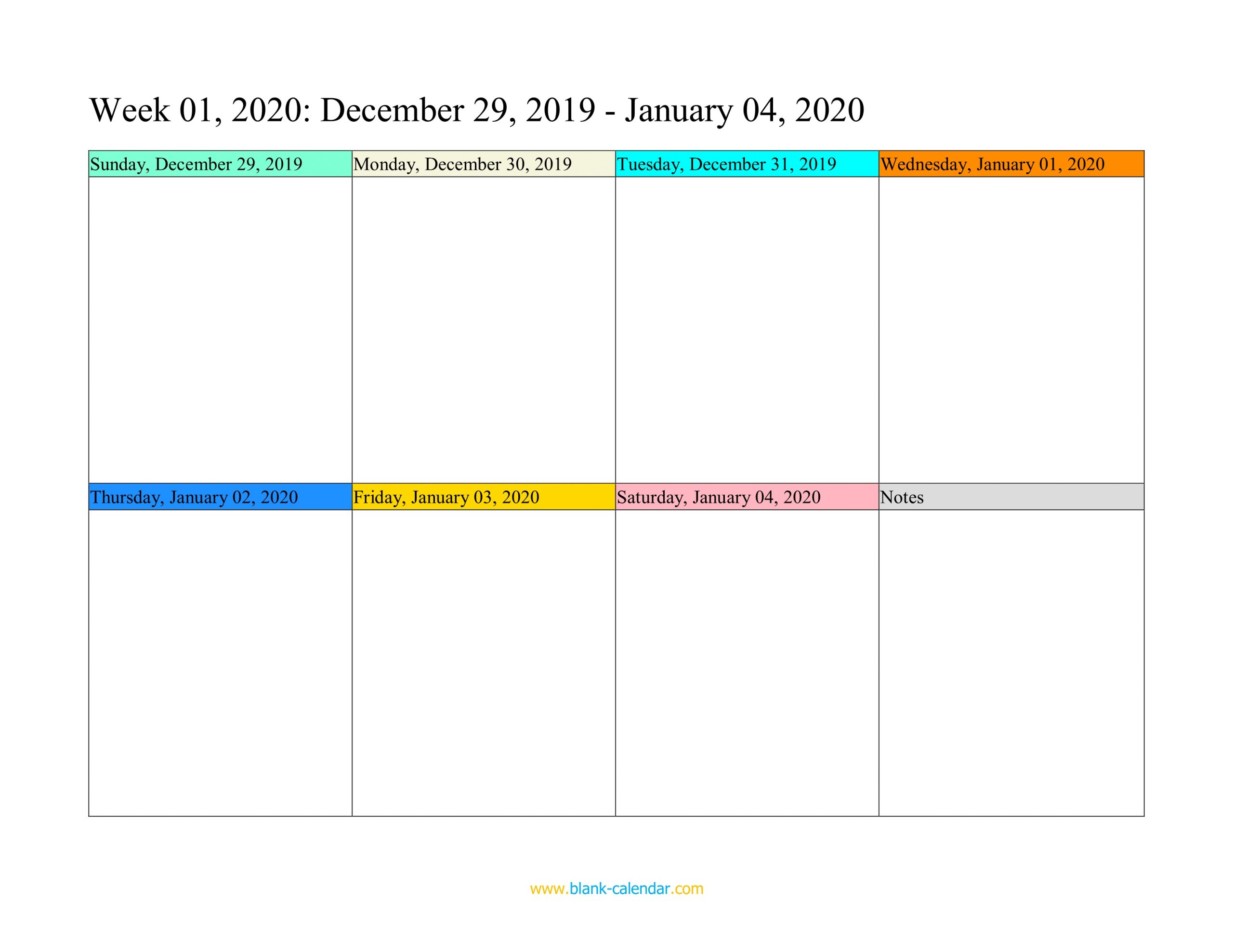 Weekly Calendar 2020 Word Excel Pdf 2
