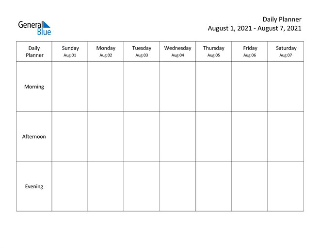 Weekly Calendar August 1 2021 To August 7 2021 Pdf 1