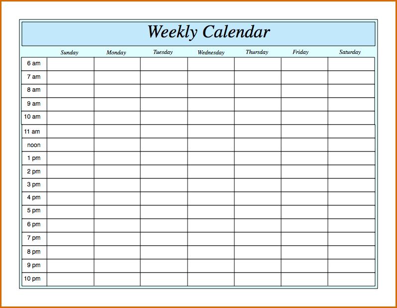 Weekly Calendar Hour Meloin Tandemco Weekly Calendar