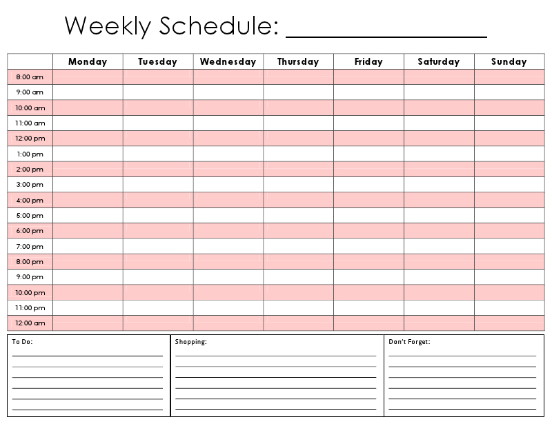 Weekly Calendar Hourly
