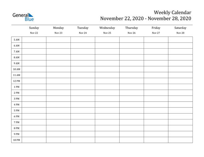Weekly Calendar November 22 2020 To November 28 2020
