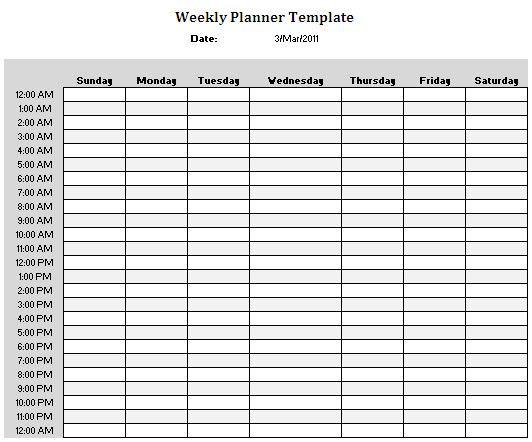 Weekly Calendar With Hours