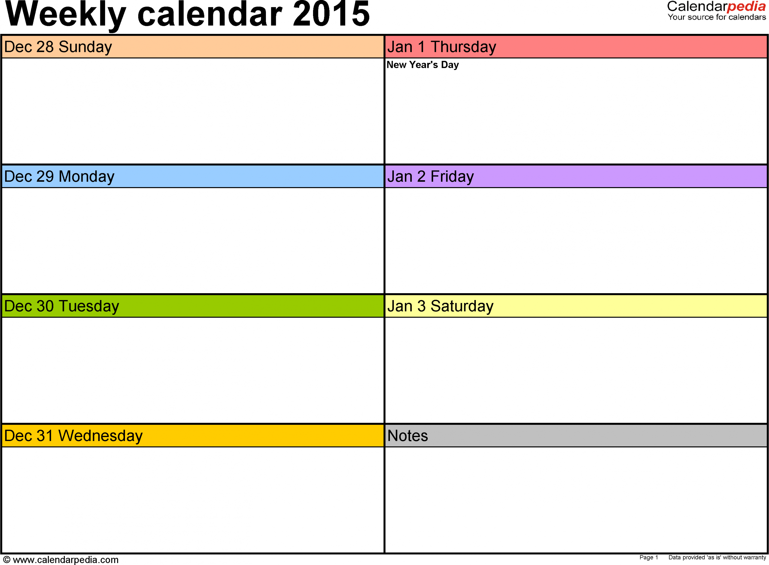 Weekly Calendars 2015 For Word 12 Free Printable Templates 1