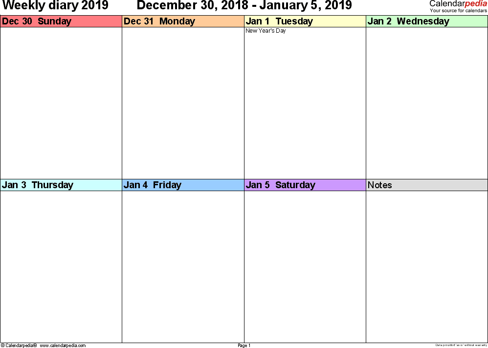 Weekly Calendars 2019 For Pdf 12 Free Printable Templates 1