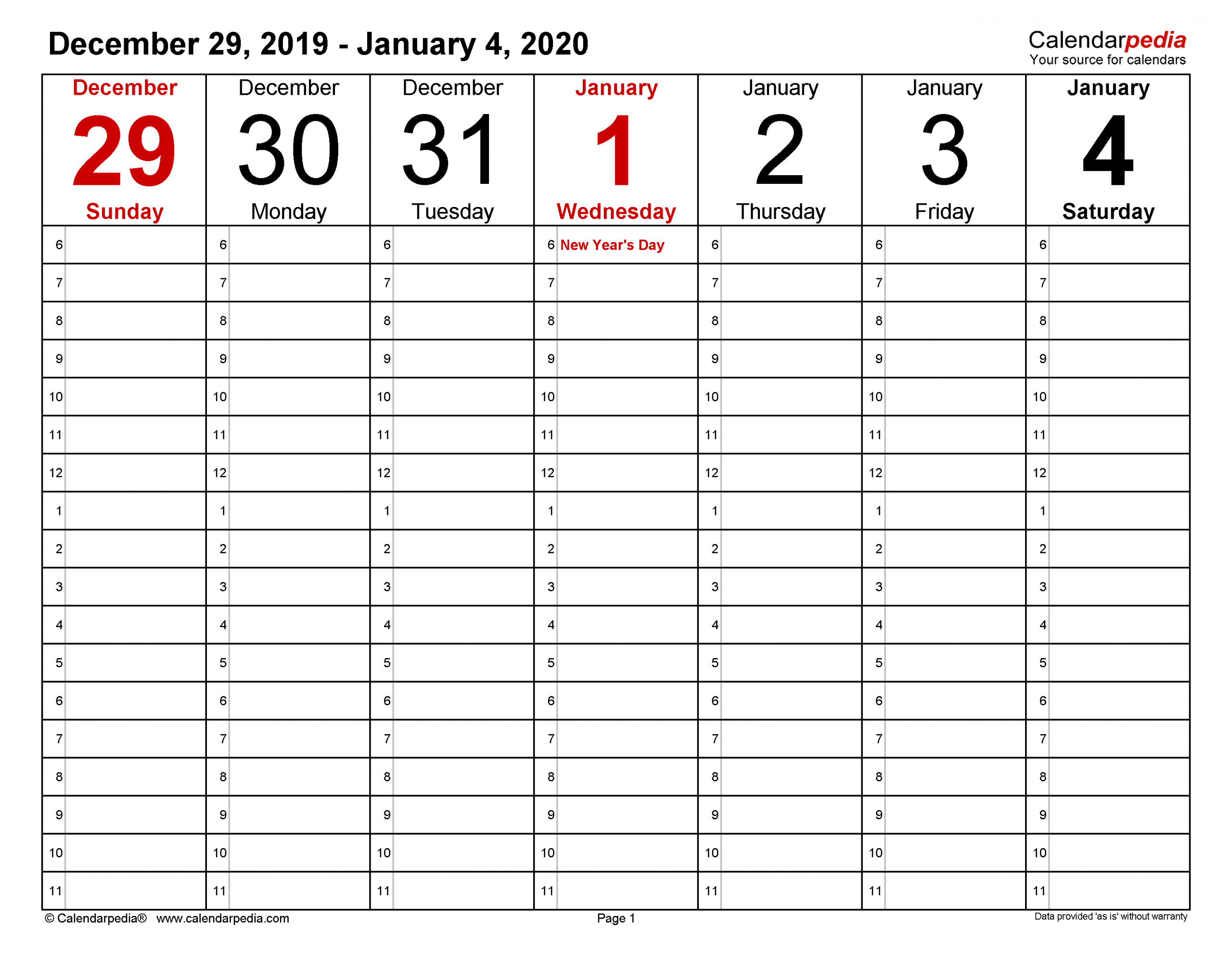 Weekly Calendars 2020 For Excel 12 Free Printable Templates