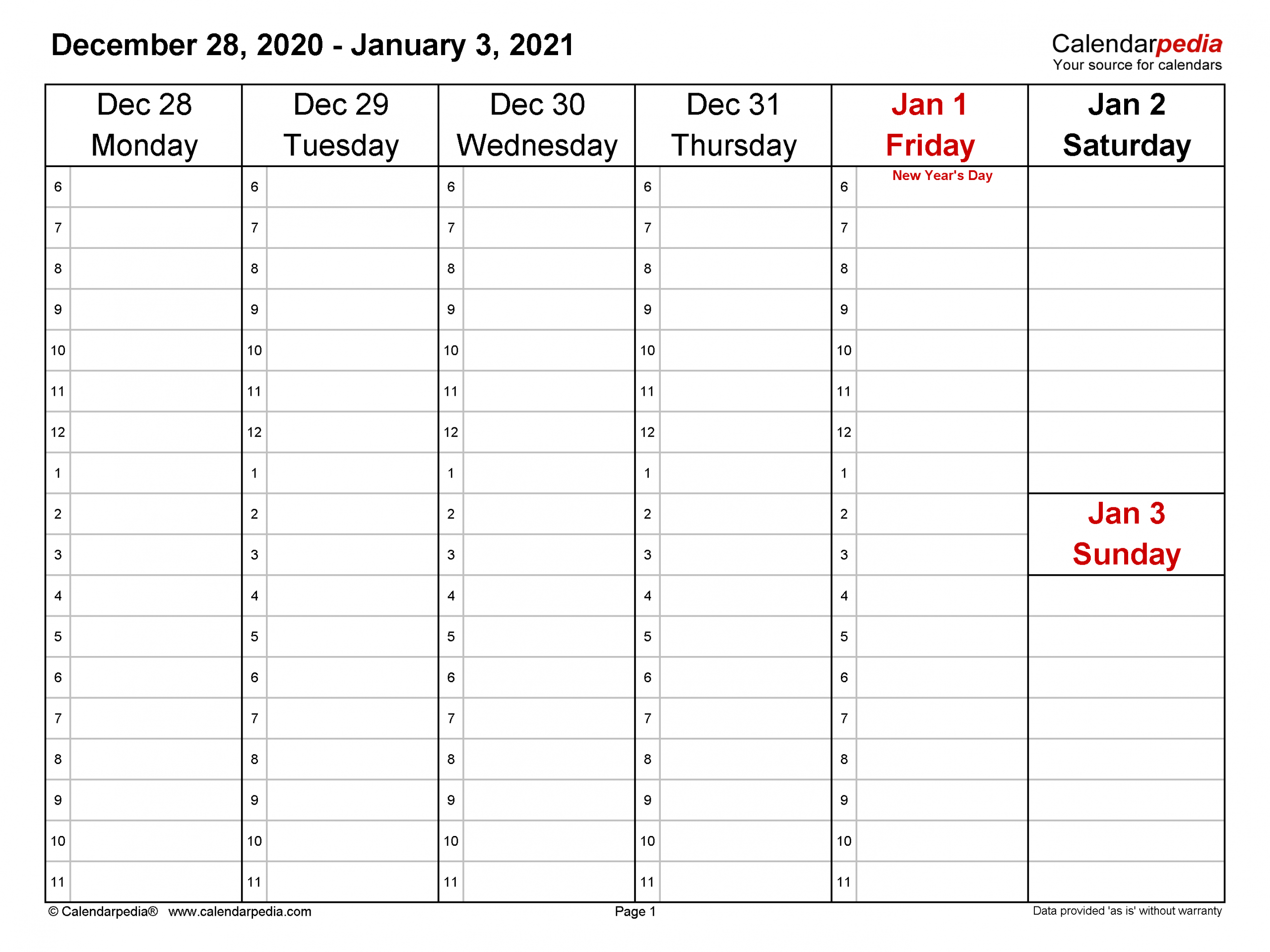 Weekly Calendars 2021 For Word 12 Free Printable Templates 4