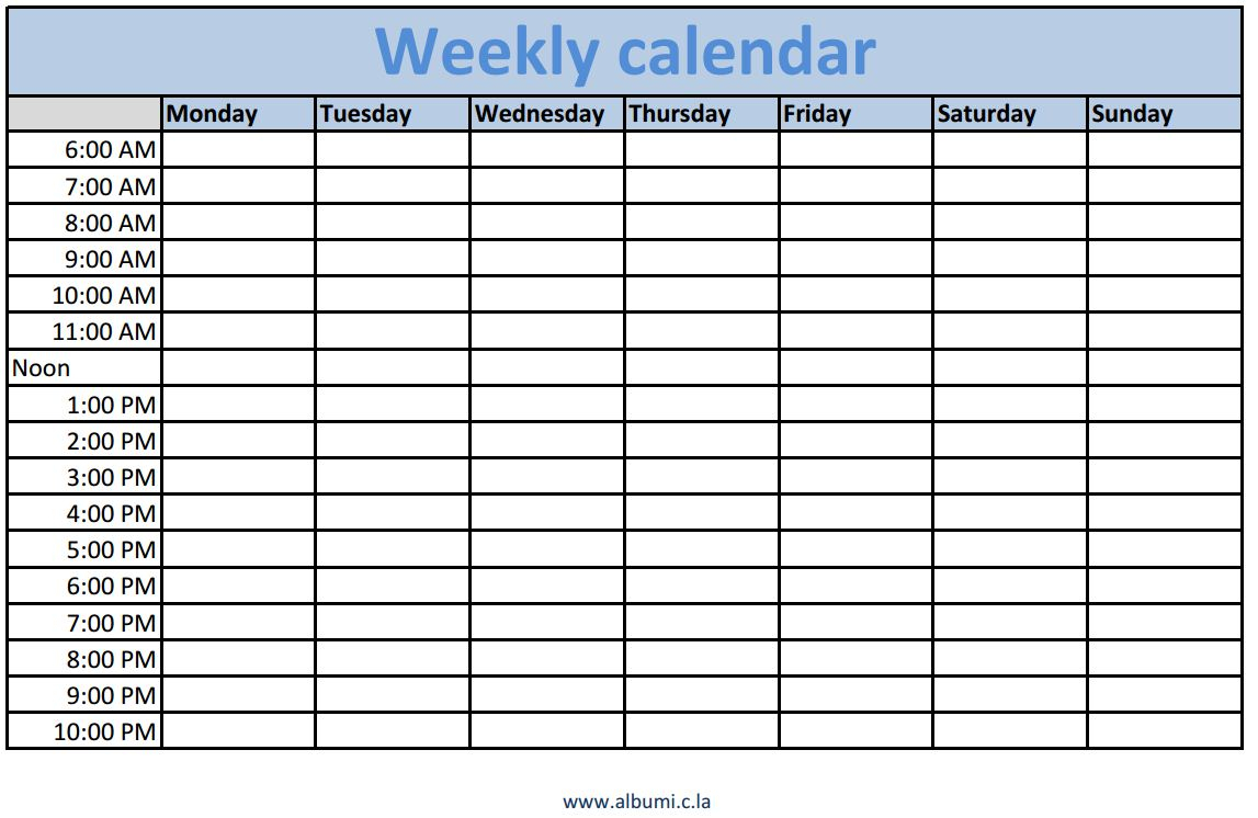 Weekly Calendars With Times Printable Calendars 2018 1