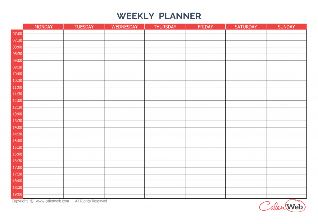 Weekly Planner 7 Days First Day Monday A Week Of 7 Days