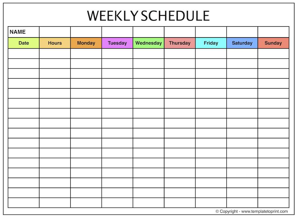 Weekly Planner Blank Weekly Calendar Template With Time