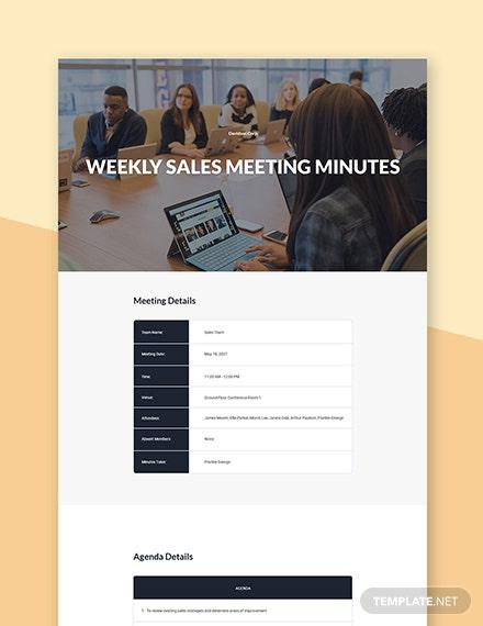 weekly sales meeting minutes word template