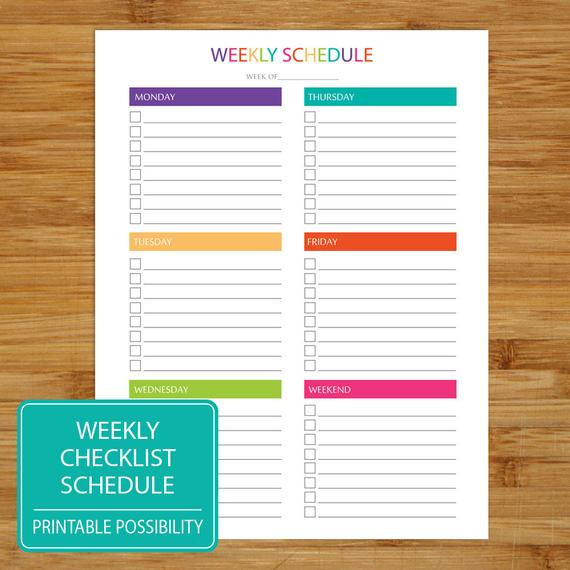 Weekly To Do List Schedule Printable Weekly Checklist