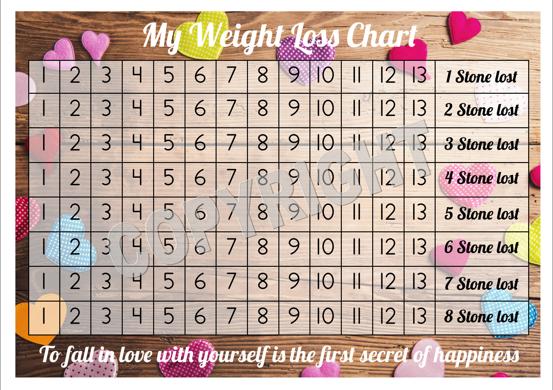 Weight Loss Chart Tracker 8 Stone Comes With Star Etsy