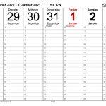 Wochenkalender 2021 Als Excel Vorlagen Zum Ausdrucken