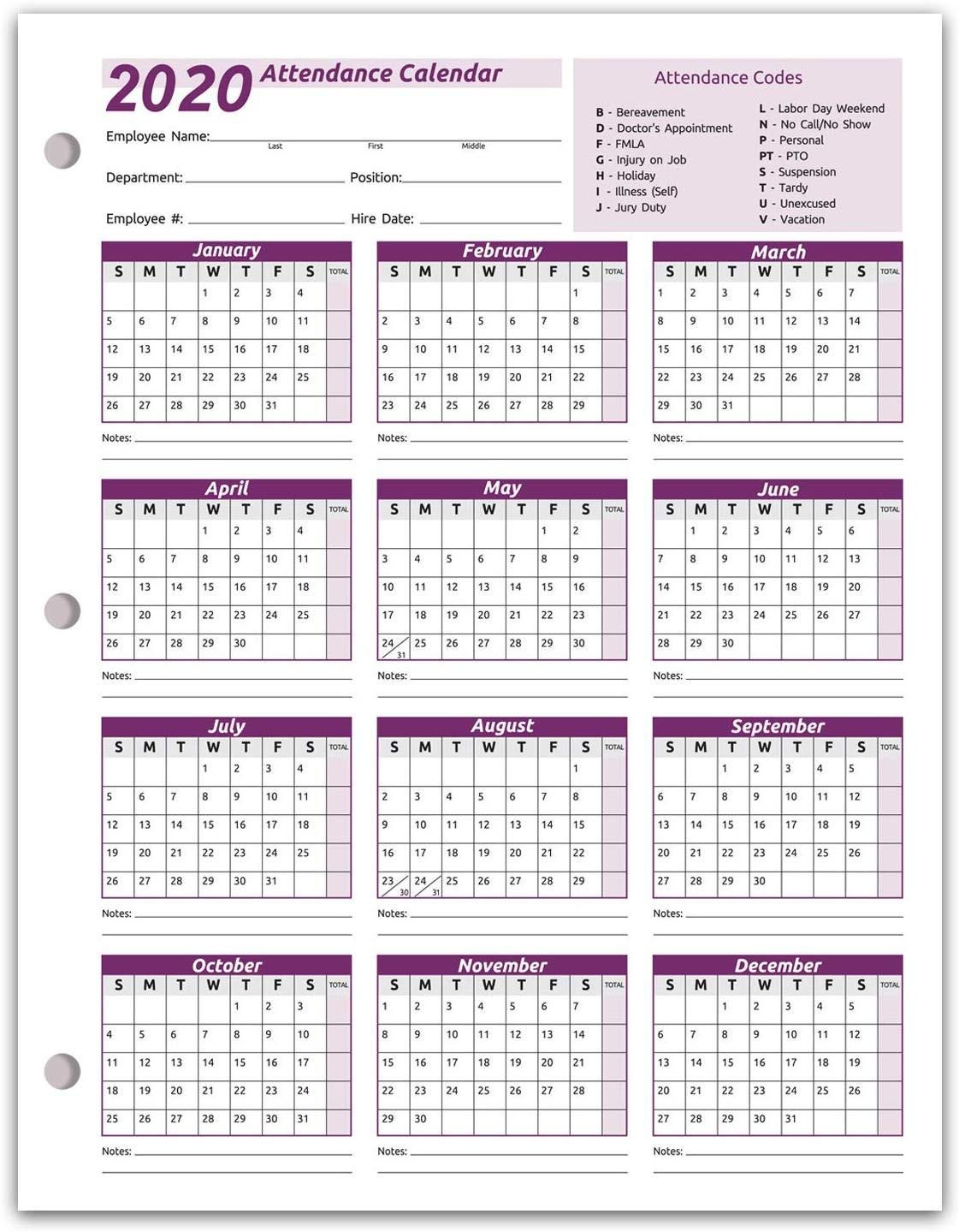 Work Tracker Attendance Calendar Cards 8 C2bd X 11 Cardstock