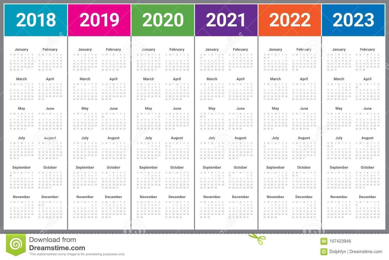 Year 2018 2019 2020 2021 2022 2023 Calendar Vector Stock 2