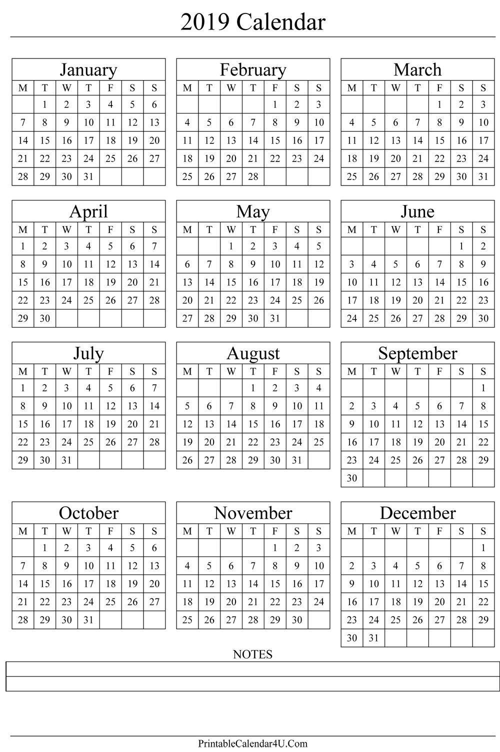Year Calendar 1 Page Ten Free Printable Calendar 2019 2020 2