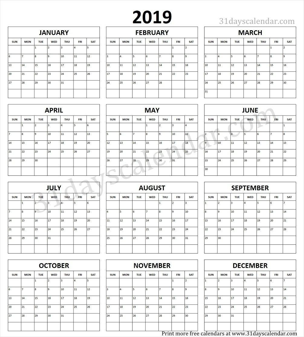 Year Calendar 1 Page Ten Free Printable Calendar 2019 2020