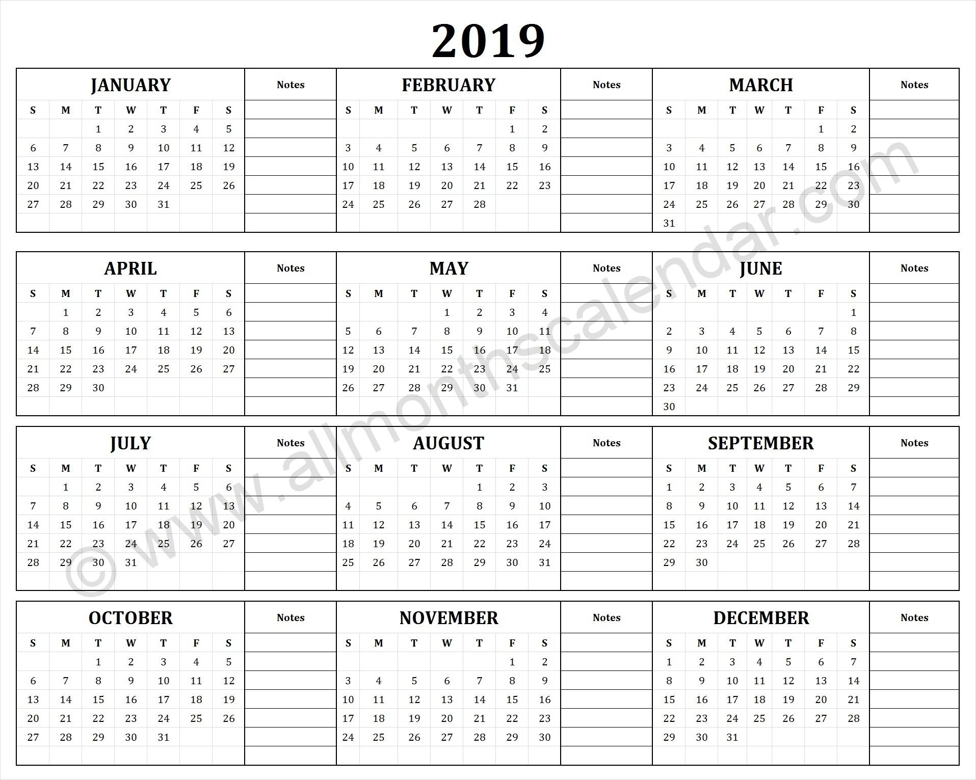 Year Calendar With Notes Ten Free Printable Calendar 1