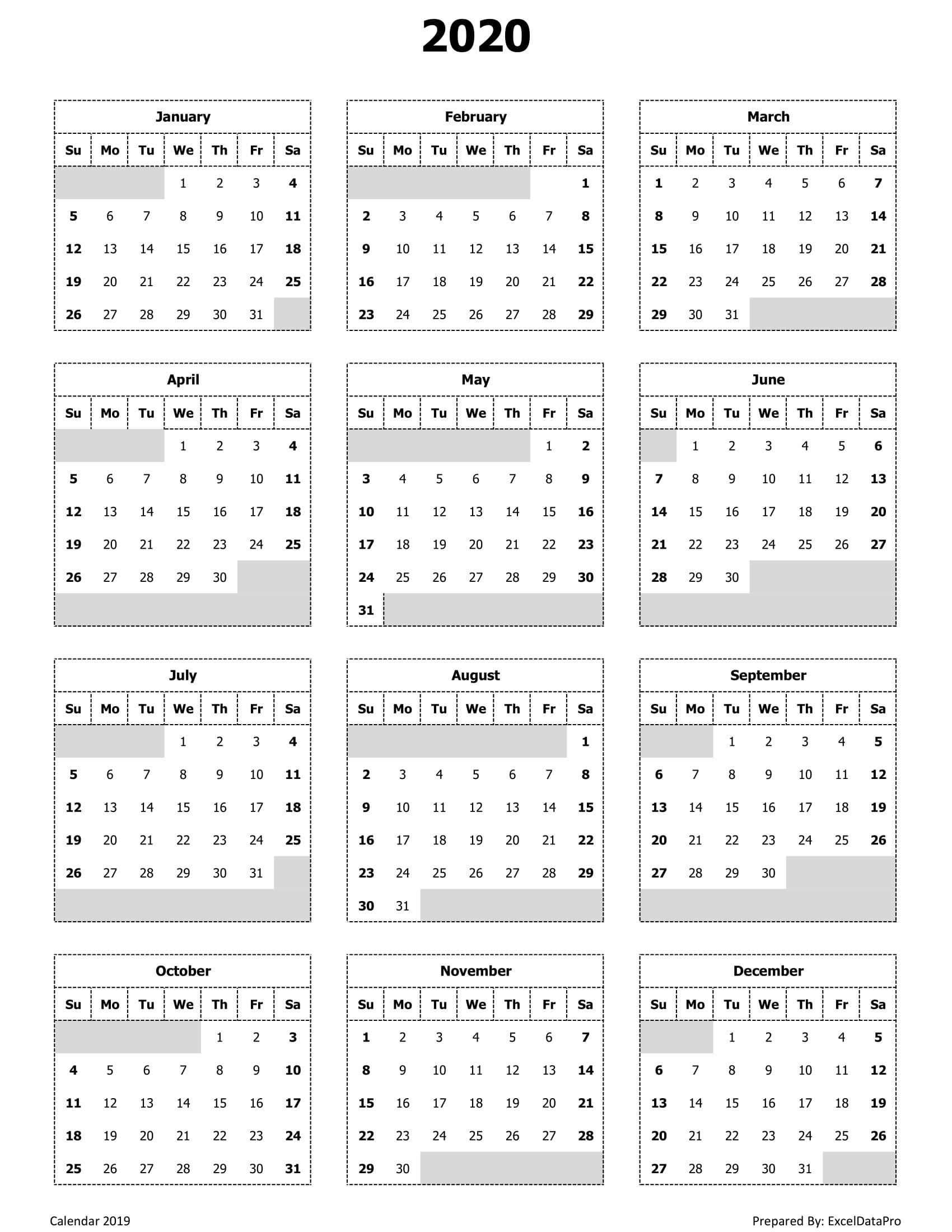 Year View Calendar Printable Ten Free Printable Calendar 1