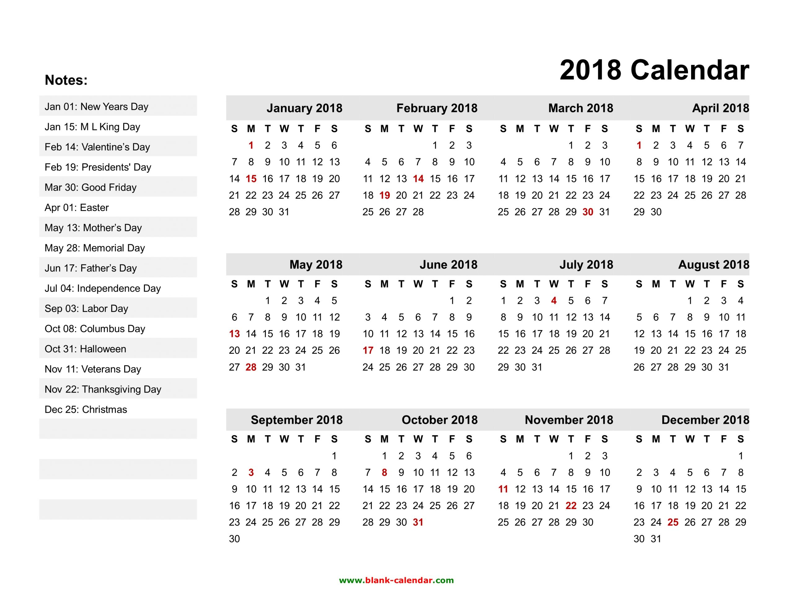 Yearly Calendar 2018 Free Download And Print