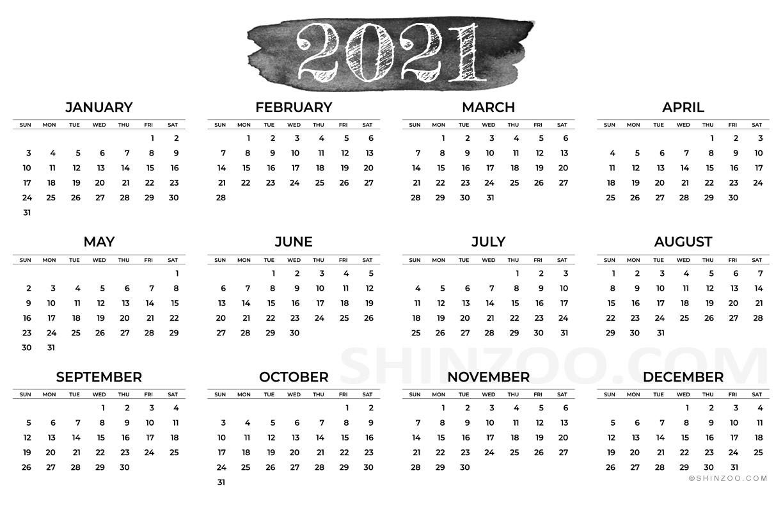 2021 Calendar Printable 11x17 Planner Template 1