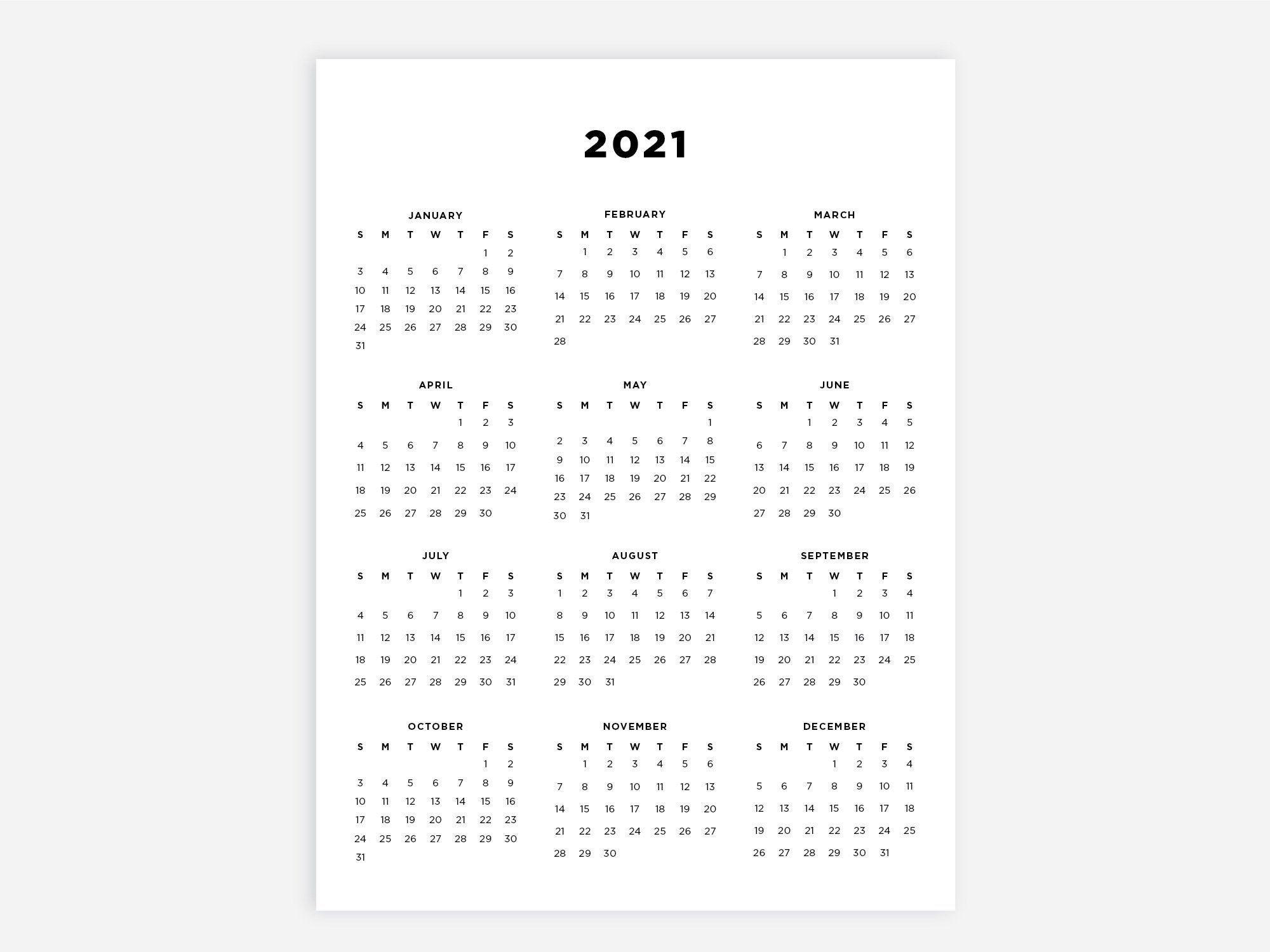 8 5x11 Printable Calendar 2021 Letter Calendar 2021 Year