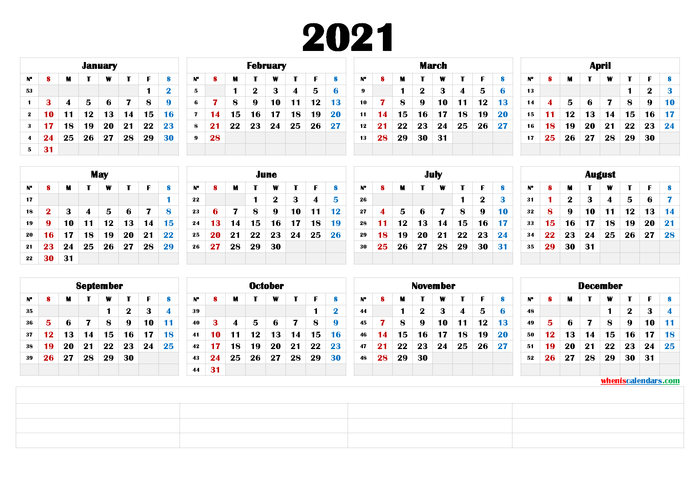 Free Printable 2021 Yearly Calendar Calendraex
