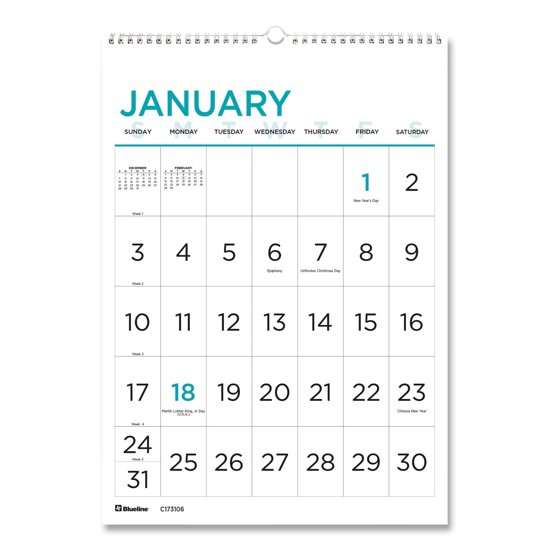 12 Month Large Print Wall Calendar 12 X 17 White Blue