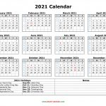 12 month printable calendar 2021 with holidays 2021 calendar