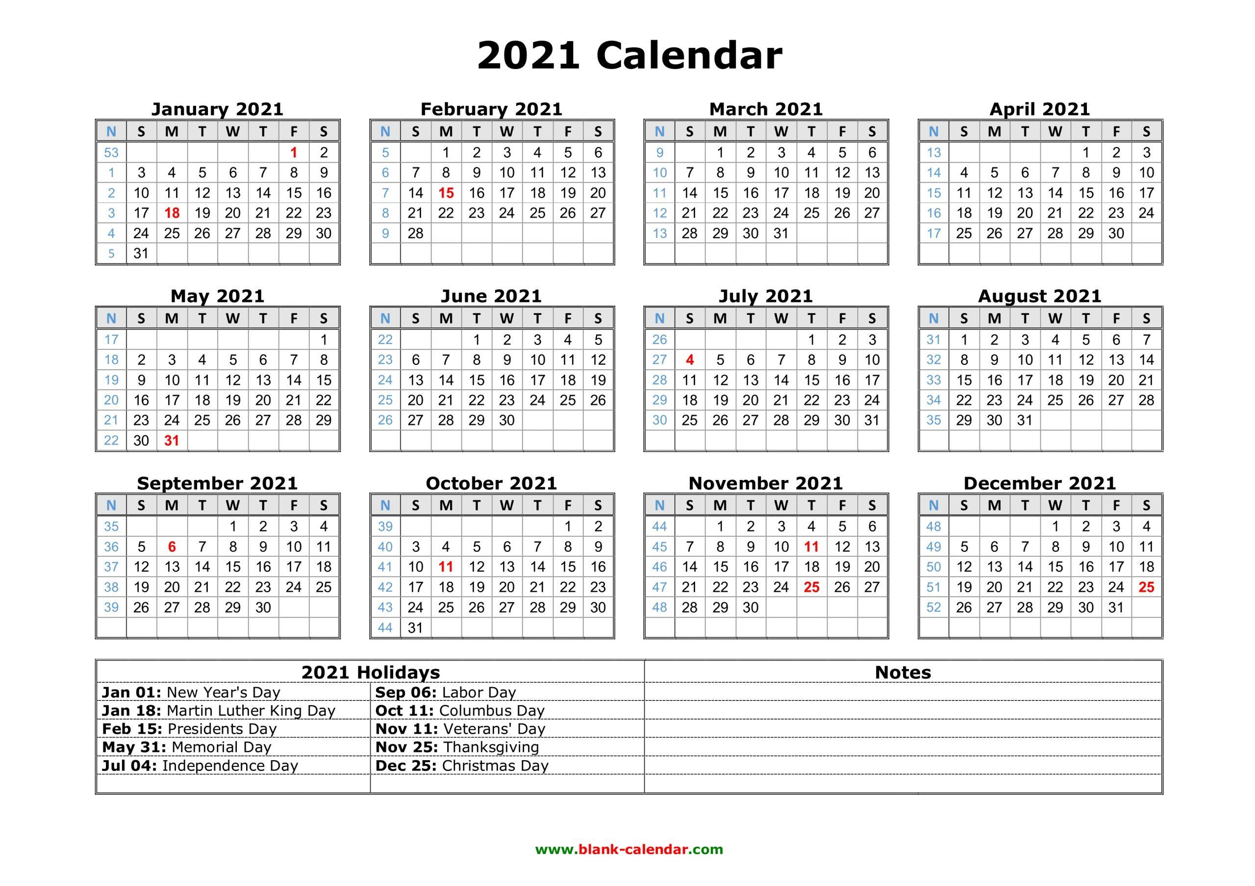 12 Month Printable Calendar 2021 With Holidays 2021 Calendar