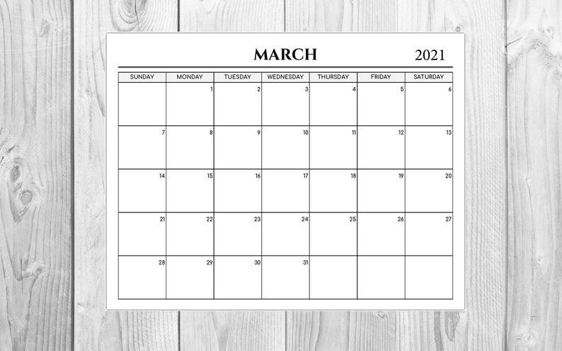 2021 Calendar 12 Month Calendar Printable Calendar Desk Etsy